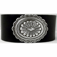 1113 Black Full Grain Genuine Italian Saddle Leather Wristband with Western Concho