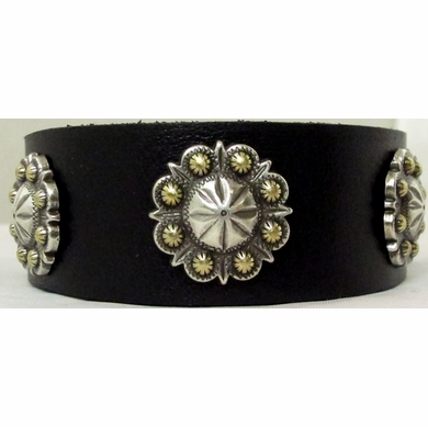 1118 Black Full Grain Genuine Italian Saddle Leather Wristband with Flower and Berry Conchos