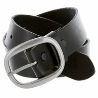 "1174 Men's One Piece Full Grain Leather Casual Jean Belt 1-1/2"" wide - Black"