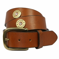 12 Gauge Shotgun Shell Full Grain Leather Belt - Tan