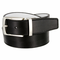 1207525 Tiger Woods Embossed Reversible Leather Golf Belt - Black/White