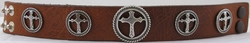 1225 Tan Full Grain Genuine Italian Saddle Leather Wristband with Cross Conchos