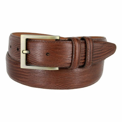 "1304 Men's Lizard Embossed Leather Dress Belt 1-3/8"" Wide Made In USA"