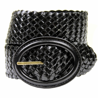 "Basketweave 2"" Wide Casual Belt - Black"