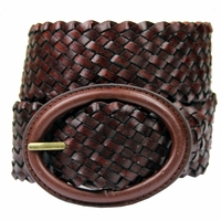 "Basketweave 2"" Wide Casual Belt - Brown"