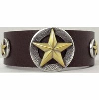 1776 Dark Brown Full Grain Genuine Italian Saddle Leather Wristband with Star Conchos