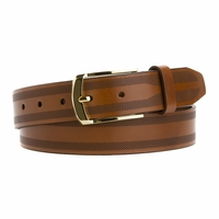 "19823 Lejon Italian Saddle Leather belt with Perforated Edges 1-3/8"" (35mm) wide"