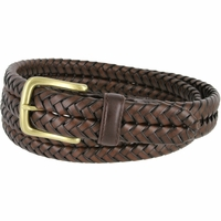 "20150 Men's Braided Woven Leather Dress Belt 1 1/4"" (32mm) wide with Gold Plated Buckle - Brown"