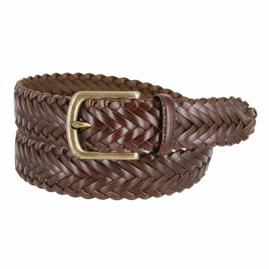 "Men's Braided Leather Dress Belt 1-3/8"" (35mm) Wide - Brown"
