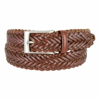 "Men's Braided Leather Dress Belt 1-1/4"" Wide - Brown"