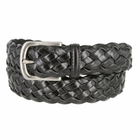 "Men's Braided Leather Dress Belt 1-3/8"" (35mm) Wide - Black"