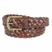 "35 Men's Braided Leather Dress Belt 1-3/8"" (35mm) Wide - Brown"