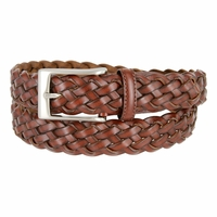 "Men's Braided Leather Dress Belt 1-1/8"" Wide - Brown"