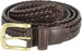 "20153 Men's Double Braided Woven Leather Dress Belt 1 1/4"" (32mm) wide with Gold Plated Buckle - Brown1"