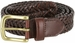 "20154 Men's Braided Woven Leather Dress Belt 1 1/4"" (32mm) wide with Gold Plated Buckle - Brown1"