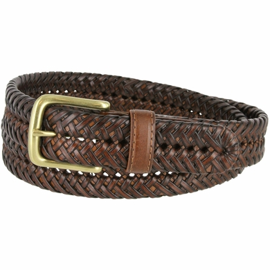 "20154 Men's Braided Woven Leather Dress Belt 1 1/4"" (32mm) wide with Gold Plated Buckle - Tan"