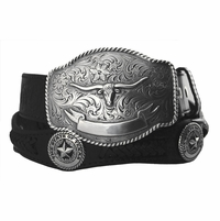 2272 State of Texas Star and Longhorn Western Embossed Leather Belt