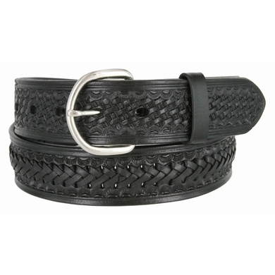2283 Western Basketweave and X Pattern Genuine Leather Belt - Black