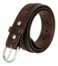 2283 Western Basketweave and X Pattern Genuine Leather Belt - Brown3