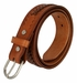 2283 Western Basketweave and X Pattern Genuine Leather Belt - Tan3