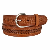 Western Basketweave and X Pattern Genuine Leather Belt - Tan