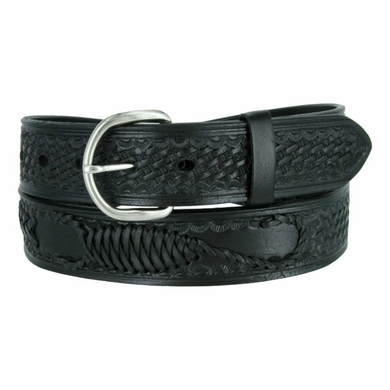 "2285 Western Scorpion X Hand Woven Genuine Leather Belt 1-1/2"" Wide - Black"