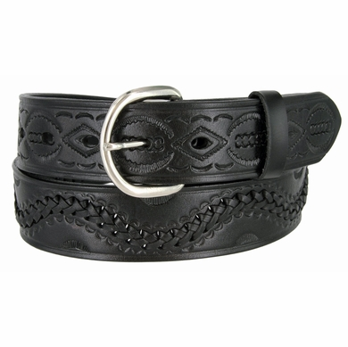 2286 Western Basketweave Genuine Leather Belt -Black