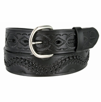 2286 Western Hand Lacing Braided Embossed Full Leather Belt-Black