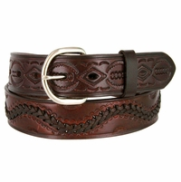 2286 Western Hand Lacing Braided Embossed Full Leather Belt-Brown