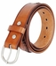 2286 Western Hand Lacing Braided Embossed Full Leather Belt- Tan3