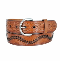 2286 Western Hand Lacing Braided Embossed Full Leather Belt- Tan