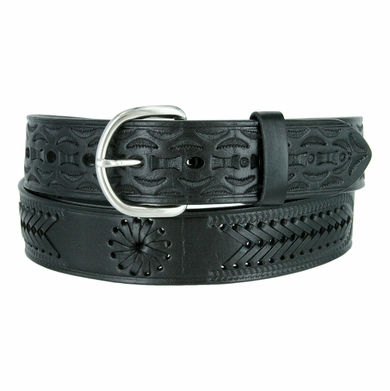 2287 Western Hand Lacing Braided Embossed Full Leather Belt-Black