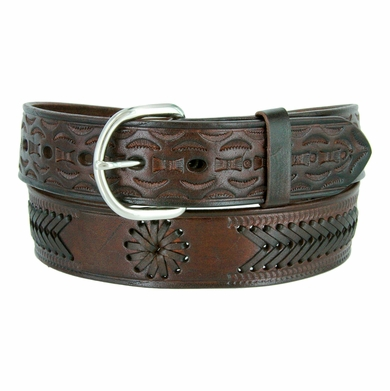 2287 Western Hand Lacing Braided Embossed Full Leather Belt-Brown