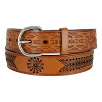 2287 Western Hand Lacing Braided Embossed Full Leather Belt-Tan