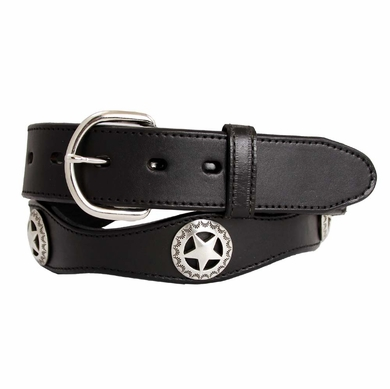 "Western Star Conchos Leather Belt 1-1/2"" Wide - Black"