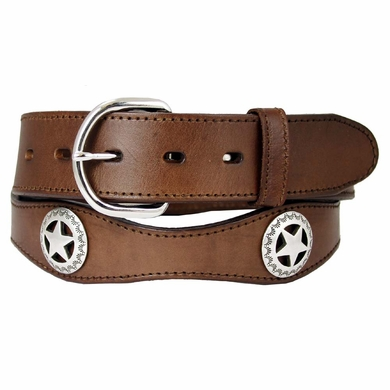 "Western Star Conchos Leather Belt 1-1/2"" Wide - Brown"