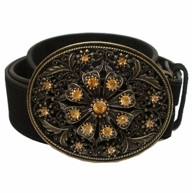 24939 Rhinestone Buckle Suede Leather Belt