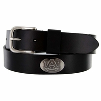 NCAA Men's Collegiate University Leather Overlay Concho Black Belt - Auburn