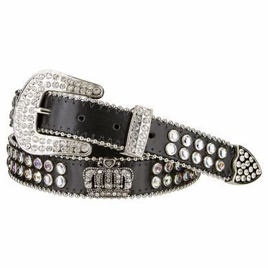 "NEW!! 3629 Women's Crown Rhinestone Studded Leather Belt 1 1/8"" Wide"
