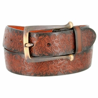 "3804024 Full Leather Vintage Floral Engraved Tooled Casual Jean Belt 1-1/2"" Wide"