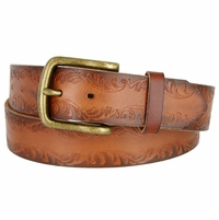 "3804033 Full Leather Vintage Floral Engraved Tooled Casual Jean Belt 1-1/2"" Wide"