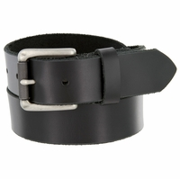 "Men's One Piece Full Grain Leather Casual Jean Belt Black 1-3/8"" wide Hand-Cut Made in USA"