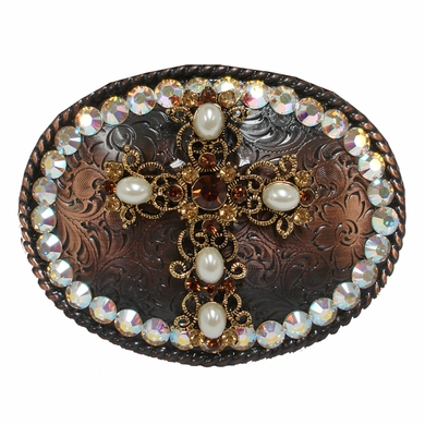 "4277 Swarovski Rhinestone Cross Belt Buckle Fits 1 1/2"" Wide Belts"