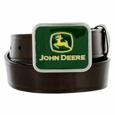 "4300300 John Deere boy's Casual Leather Belt 1-1/4"" Wide - Brown"