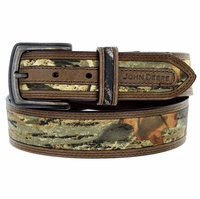 4518500 John Deere Men's Fabric Camouflage Leather Belt 1-1/2""