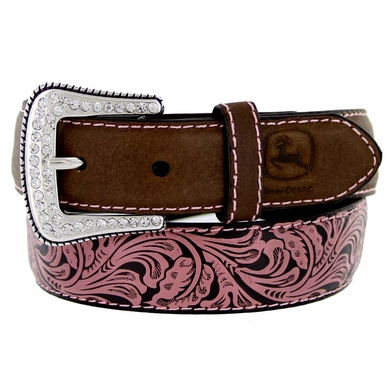 4602300 John Deere Girl's Western Leather Rhinestone Buckle Belt