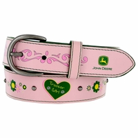 "4606300 John Deere Girl's Leather Dress Pink Belt 1-1/4"" Wide"