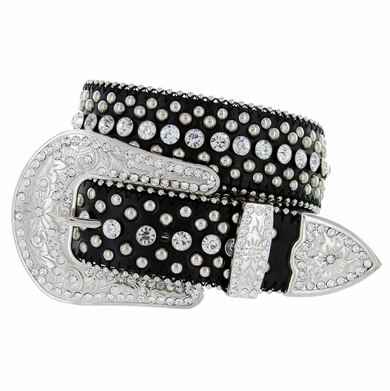 "50116 Western Rhinestone Crystal Leather Belt 1-1/2"" - Black"