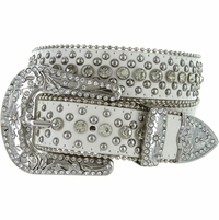 "50116 Western Rhinestone Crystal Leather Belt 1-1/2"" - White"