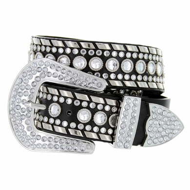 "50118 Rhinestone Western Belt 1. 5"" Wide - Black"